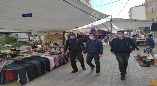 Manyas'ta polis ve jandarma ekipleri pazar yerlerinde denetim yaptı