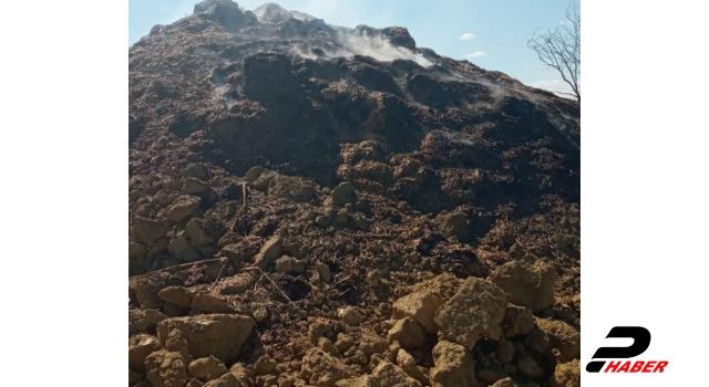 Hayrabolu'da çıkan bir yangında 3 bin saman balyası yandı