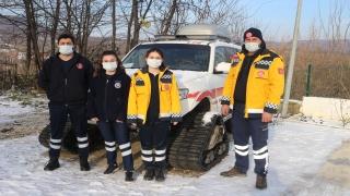 Demirköy'de 112 Acil Sağlık ekipleri zorlu kış şartlarında da görev başında
